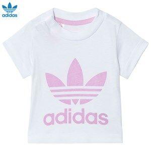 adidas Originals Girls Tops White White and Pink Logo Tee