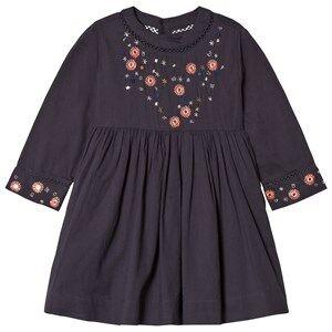 Velveteen Girls Dresses Navy Claudia Floral Sleeve Dress Navy