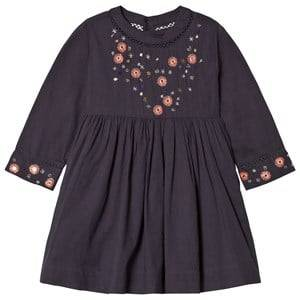 Image of Velveteen Girls Dresses Navy Claudia Floral Sleeve Dress Navy