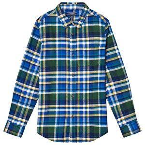 Lands End Boys Tops Blue Blue Multi Plaid Flannel Shirt