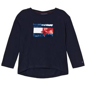 Tommy Hilfiger Girls Tops Navy Navy Sequin Branded Flag Long Sleeve Tee