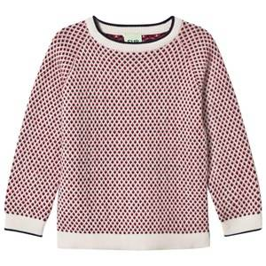 FUB Unisex Jumpers and knitwear Blue Rhombus Sweater Ecru/Navy/Red