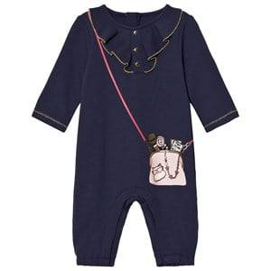Image of Little Marc Jacobs Girls All in ones Navy Navy Bag Print Frill Front Babygrow