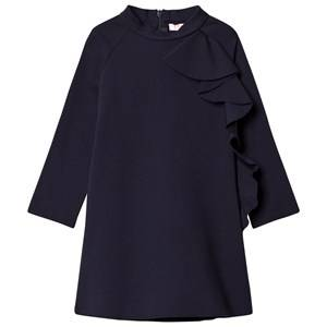 Image of Il Gufo Girls Dresses Navy Navy Frill Detail Milano Dress