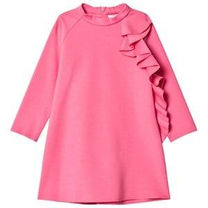 Image of Il Gufo Girls Dresses Pink Fuchsia Frill Detail Milano Dress