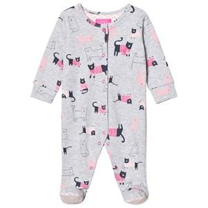 Image of Tom Joule Girls All in ones Grey Grey Marl Cat Print Jersey Footed One-Piece
