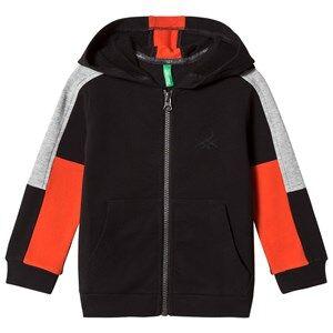 United Colors of Benetton Boys Jumpers and knitwear Black Color Block Zip Hoodie Black