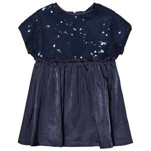 United Colors of Benetton Girls Dresses Blue Sequins Top A Line Dress Navy