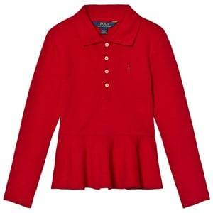 Ralph Lauren Girls Tops Red Red Long Sleeve Peplum Polo Top