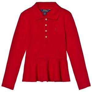 Ralph Lauren Girls Tops Red Long Sleeve Peplum Polo Top