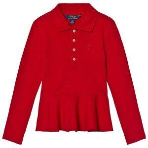 Ralph Lauren Girls Tops Red Red Long Sleeve Peplum Polo Top