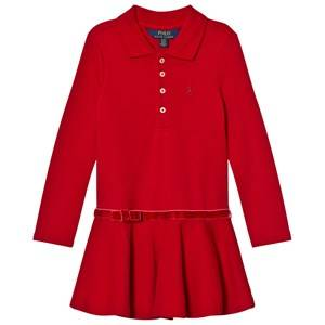 Image of Ralph Lauren Girls Dresses Red Long Sleeve Stretch Polo Dress