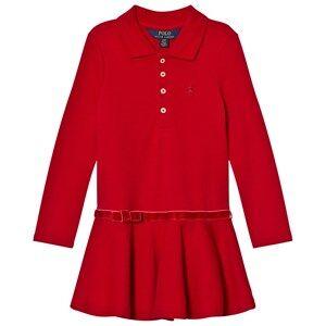 Ralph Lauren Girls Dresses Red Long Sleeve Stretch Polo Dress