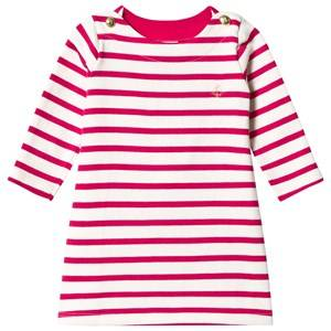 Image of Petit Bateau Girls Dresses White Knitted Dress Creme/Pink