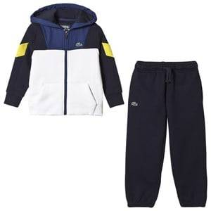 Lacoste Boys Bottoms Blue Navy and White Panel Diamond Weave Tracksuit