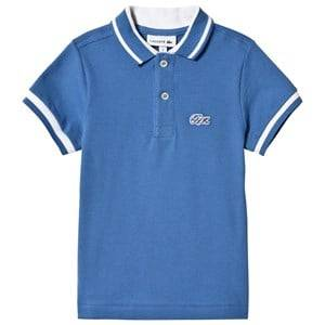 Lacoste Boys Tops Blue Blue Pique Polo with White Tipping