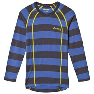 Bergans Unisex Jumpers and knitwear Blue Fjellrapp Striped Shirt Warm Cobalt/Dark Grey