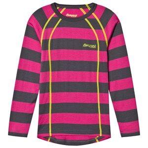 Bergans Unisex Jumpers and knitwear Pink Fjellrapp Striped Shirt Hot Pink/Dark Grey