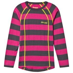 Bergans Unisex Jumpers and knitwear Pink Fjellrapp Striped Shirt Hot Pink/Dark Grey