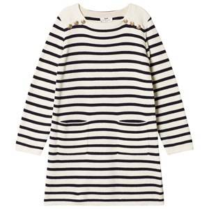 Image of Cyrillus Girls Dresses White White and Navy Stripe Long Sleeve Dress