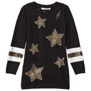 Image of Relish Girls Dresses Black Black Star Embroidered Knit Dress
