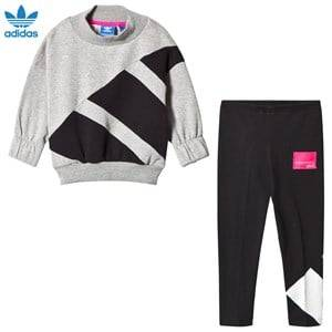 adidas Originals Girls Clothing sets Grey Grey and Black Branded Crew Tracksuit