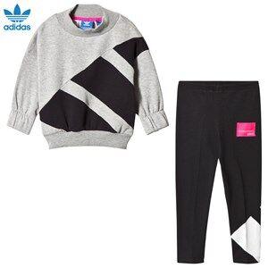 adidas Originals Girls Clothing sets Grey Grey and Black Branded Crew Tracksuit
