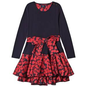 Image of Jessie & James Girls Dresses Navy Navy Poppies Print Bow Detail Dress