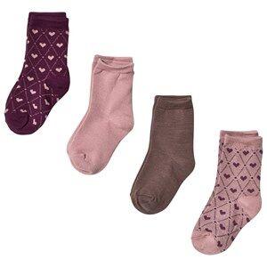 Name it Unisex Underwear Pink Strumpor, 4-pack, Wak, Mini, Woodrose