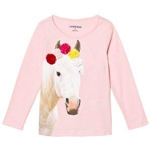 Lands End Girls Tops Pink Pale Pink Flower Crown Horse Embellished Graphic Tee