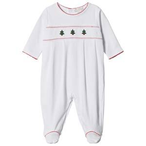 Image of Kissy Kissy Unisex All in ones White White Christmas Tree Embroidered and Smocked Jersey Babygrow