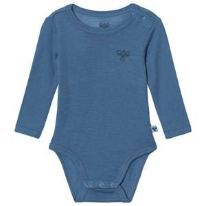 Image of hummelkids Girls All in ones Blue Mira Ls Wool Bodystocking Copen Blue