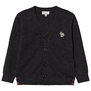 Image of Paul Smith Junior Boys Jumpers and knitwear Grey Grey Marl Logo Cardigan with Multi Stripe Detail