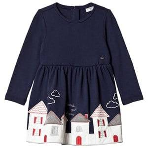 Image of Mayoral Girls Dresses Navy Navy House Embroidered Dress