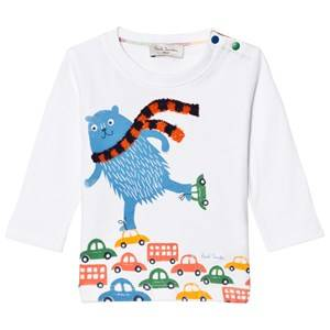 Paul Smith Junior Boys Tops White White Skating Bear and Scarf Applique Tee