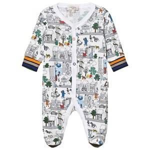Paul Smith Junior Boys All in ones White White City Print Light Sweat Footed Baby Body