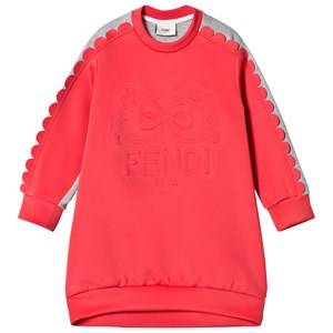 Image of Fendi Girls Dresses Red Coral Embossed Logo Scallop Sleeve Neoprene and Sweat Dress