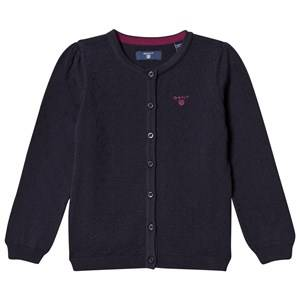 Image of Gant Girls Jumpers and knitwear Navy Navy Textured Cardigan with Heart Buttons