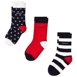 Gant Boys Underwear Navy 2 Pack Navy and Red Stars and Stripe Socks