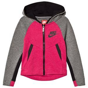 Image of NIKE Girls Jumpers and knitwear Grey Grey with Rush Pink Heather Tech Fleece Hoodie