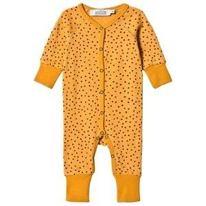 Image of Anïve For The Minors Unisex All in ones Yellow Baby Jumpsuit Tiny Dots Yellow