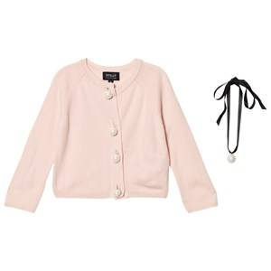 Image of DOLLY by Le Petit Tom Girls Jumpers and knitwear Pink Pearled Up Cardigan Lightpink