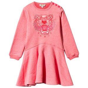 Image of Kenzo Pink Marl Embroidered Tiger Skater Dress 6 Months