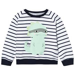 Scamp & Dude Chilled Fit Sweatshirt  Navy/White Breton Dino 4-5 years