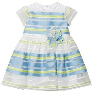 Il Gufo Blue Green Stripe Organza Dress 12 years