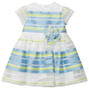 Il Gufo Blue Green Stripe Organza Dress 5 years