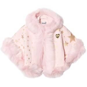 Bandit`s Girl Pink Star Print Faux Fur Hooded Cape L (8-9 years)