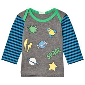 United Colors of Benetton Stripe L/S Space Print T-Shirt Grey 68 (6-9 months)