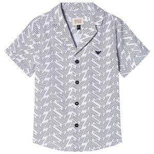 Image of Giorgio Armani Emporio Armani White and Black Pattern Short Sleeve Shirt 5 years