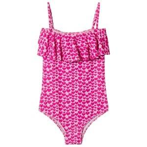 Image of Melissa Odabash Pink Heart Print Ivy Frill Front Swimsuit 2 years